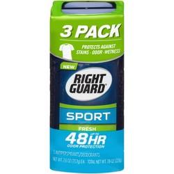 Right Guard Sport Antiperspirant Deodorant Fresh Invisible Solid Stick - 2.6oz/3pk