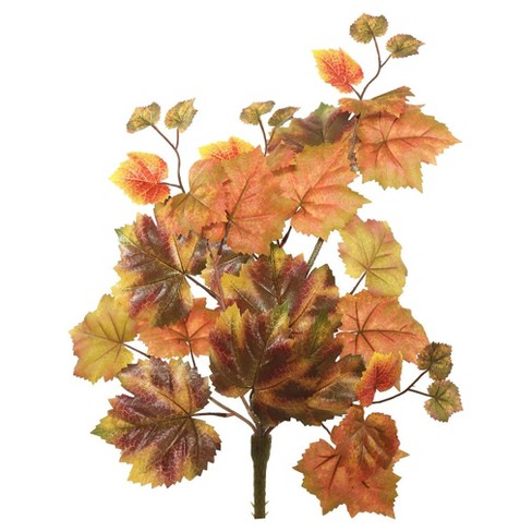 "Artificial Autumn Grape Leaf Hangin Bush (20"") Red/Brown - Vickerman - image 1 of 1"