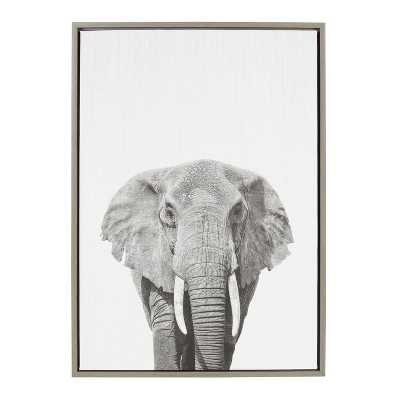 Kate & Laurel 33 x23  Sylvie Elephant Animal Print And Portrait By Simon Te Tai Framed Wall Canvas Gray