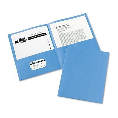 Avery Two-Pocket Folder 40-Sheet Capacity Light Blue 25/Box 47986