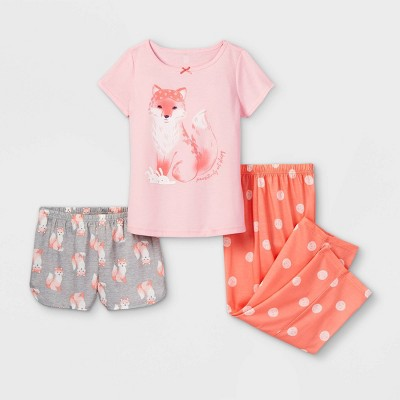 Girls' 3pc Fox Pajama Set - Just One You® made by carter's Green/Pink 6