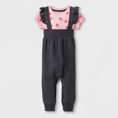 Baby Girls' 2pc Overall and Bodysuit Set - Cat & Jack™ Charcoal Newborn