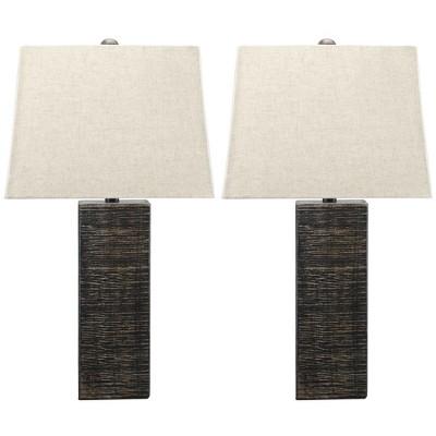 Mahak Wood Set of 2 Table Lamp Black - Signature Design by Ashley