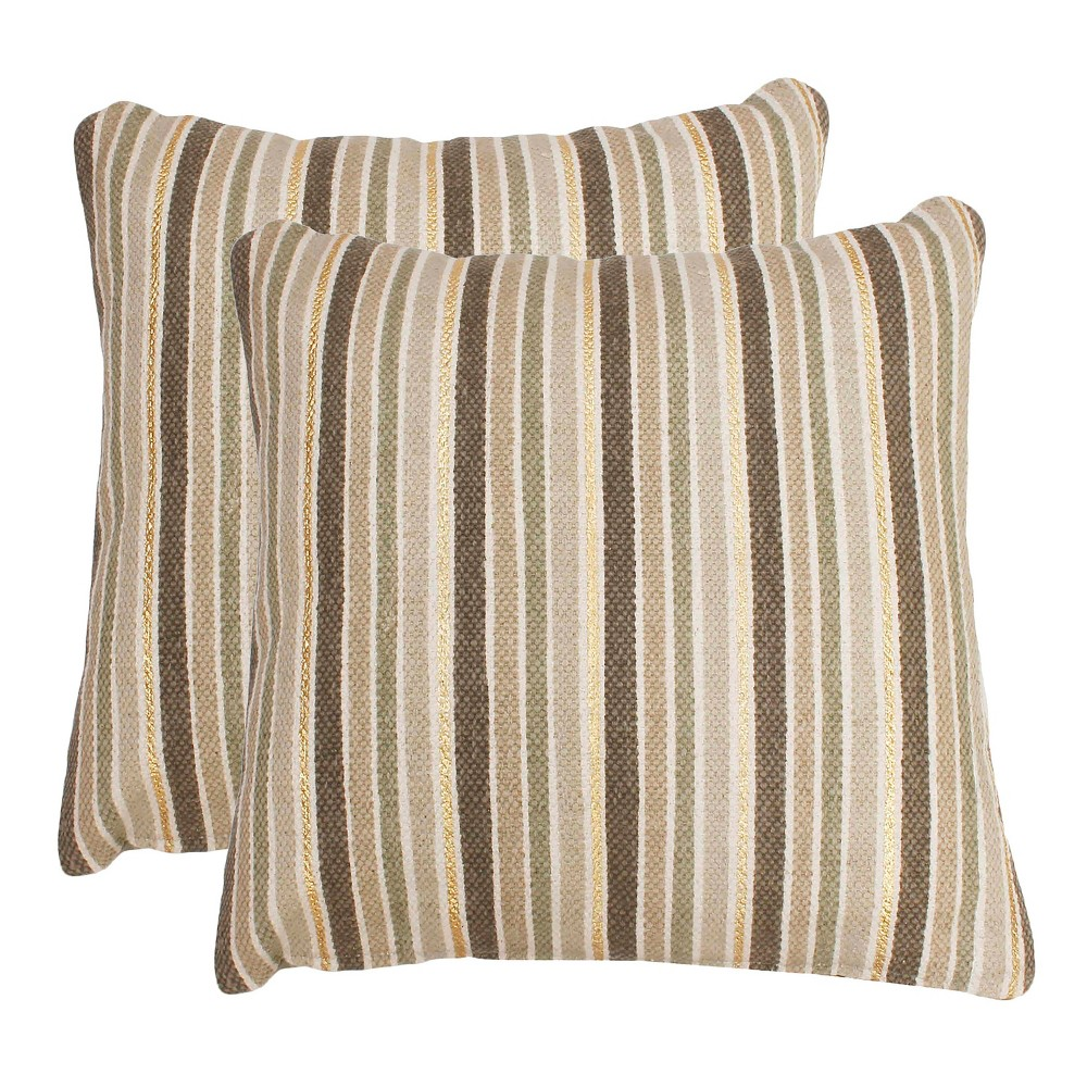 Susan Stripe Foil Oversize Square Throw Pillow White/Gold - Decor Therapy
