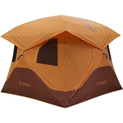 Gazelle GT401SS T4 Extra Large 4 Person Capacity Portable Pop Up Outdoor Shelter Camping Hub Tent with 2 Doors and 6 Windows, Orange