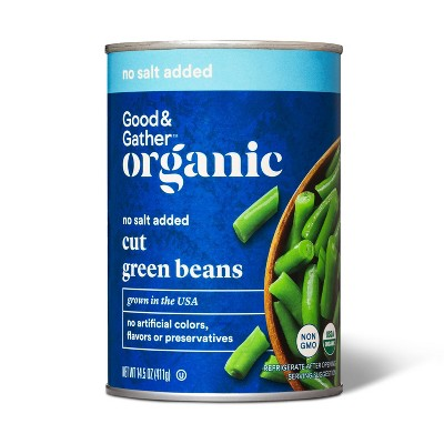 Organic No Salt Added Cut Green Beans - 14.5oz - Good & Gather™