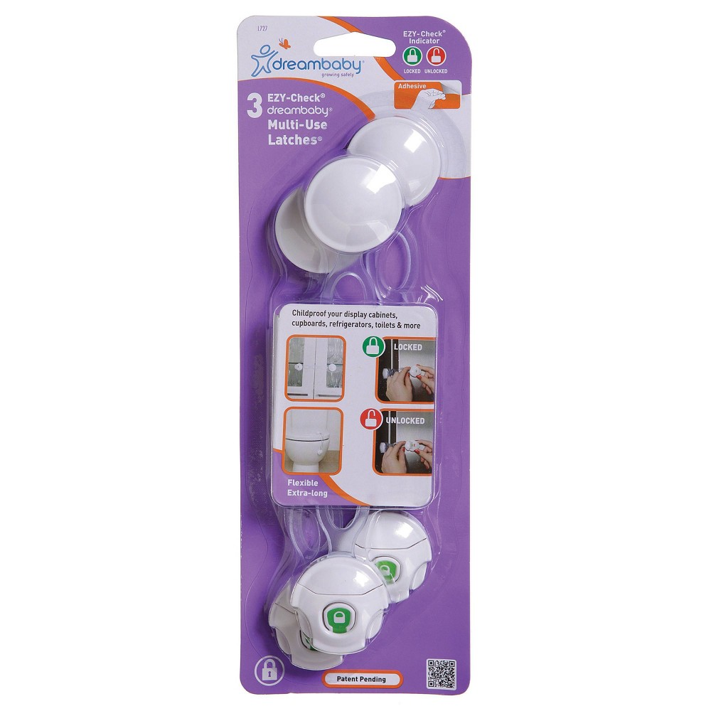 Image of Dreambaby EZY-Check Multi-Use Latch - 3pk, White
