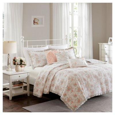 Coral Desiree Cotton Percale Quilt Set