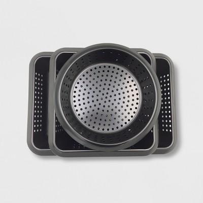 3pc Grill Basket Set Black - Made By Design™