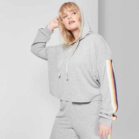 2db02a8d893 Women s Plus Size Cropped Striped Rainbow Placed Hoodie - Wild Fable™  Heather Gray