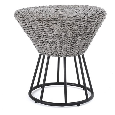 Crete Round Wicker Side Table - Gray - Christopher Knight Home