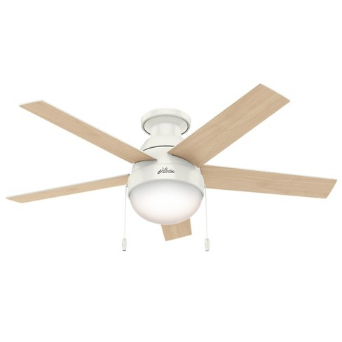 46 Anslee Low Profile Fresh White Ceiling Fan With Light Hunter Target