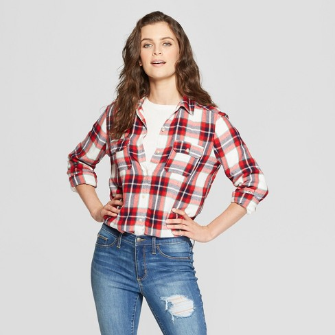Women's Long Sleeve Drapey Plaid Shirt - Universal Thread™ Red - image 1 of 3