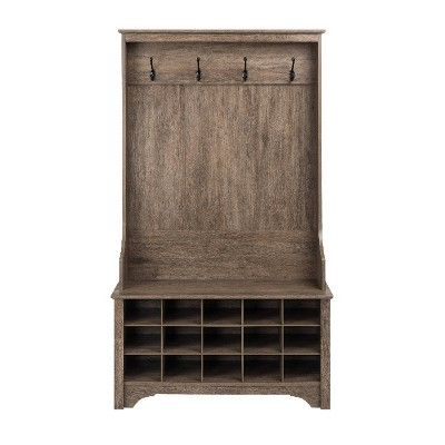 Hall Tree with Shoe Storage Drifted Gray - Prepac