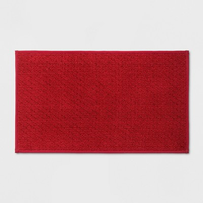 34 x20  Solid Diamond Weave Kitchen Rug Red - Made By Design™