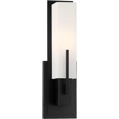 "Possini Euro Design Modern Wall Light Sconce Black Hardwired 15"" High Fixture Rectangular Opal Glass for Bedroom Bathroom Hallway"