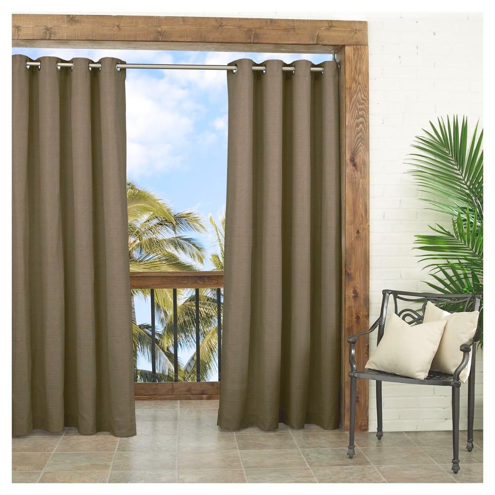 Key Largo Solid Indoor/Outdoor Curtain Panel Dark Taupe (52
