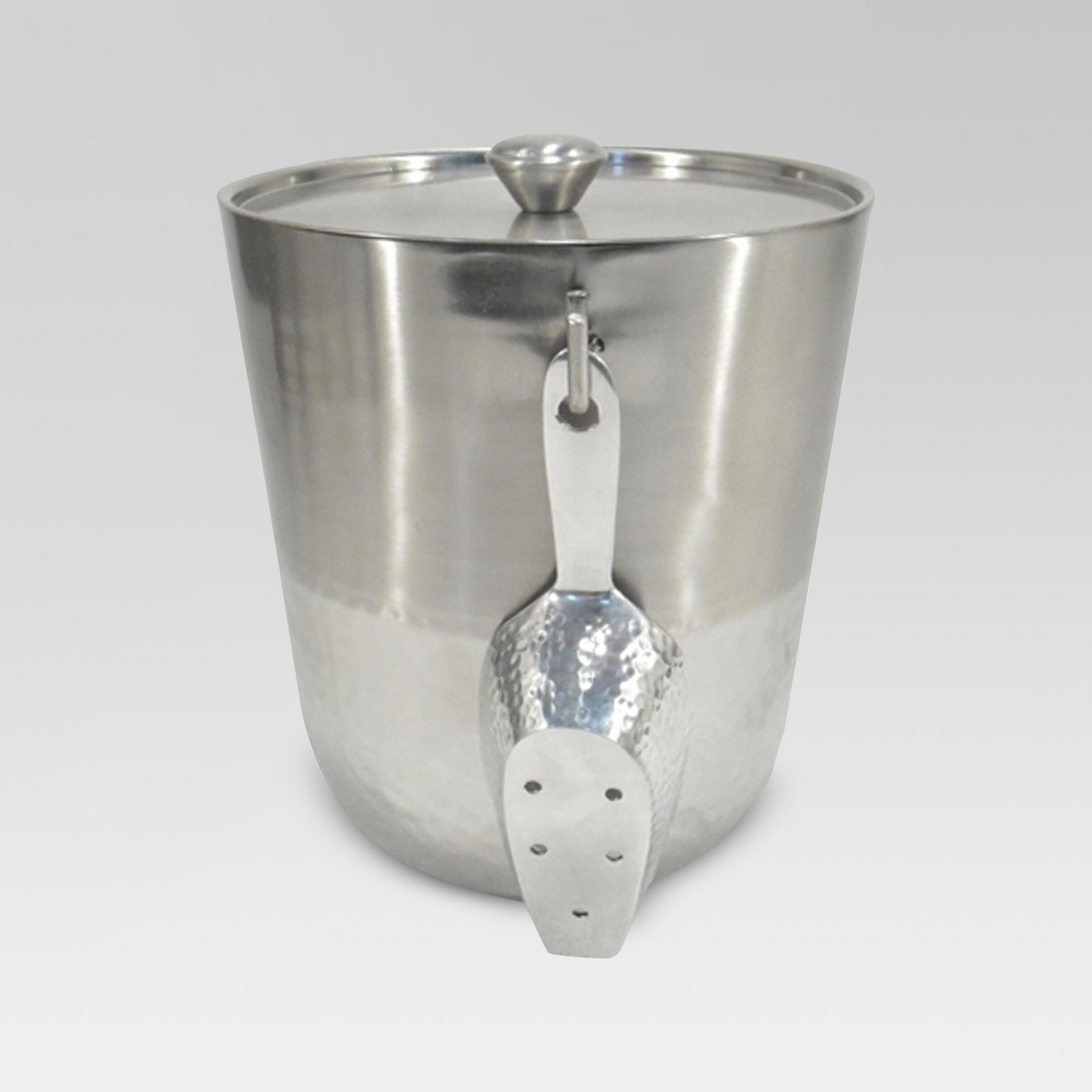 Image of Hammered Metal Ice Bucket with Ice Scoop - Threshold , Silver