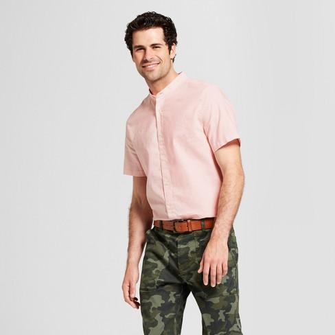d8d01eb9e22dcc Men s Standard Fit Short Sleeve Woven Mandarin Collar Button-Down Shirt -  Goodfellow   Co™   Target