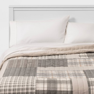 King Flannel Patchwork Quilt Gray/Neutral - Threshold™