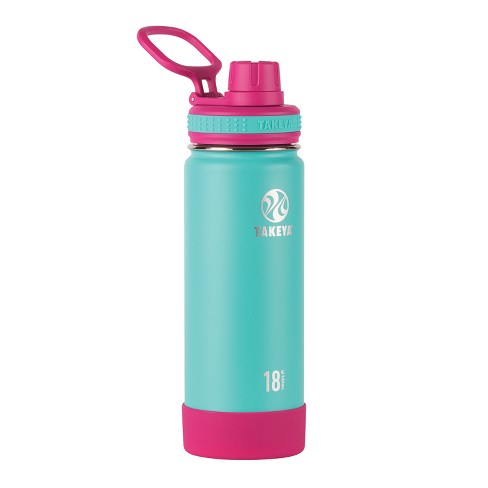 Takeya Actives 18oz Insulated Stainless Steel Water Bottle - Teal and Pink - image 1 of 4
