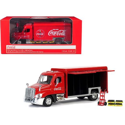 """Beverage Delivery Truck """"Coca-Cola"""" with Handcart and 4 Bottle Cases 1/50 Diecast Model by Motorcity Classics"""