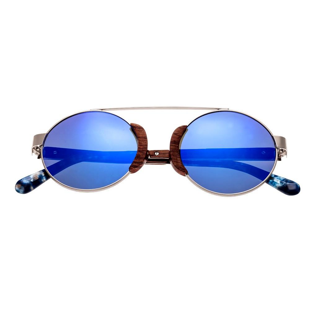 Earth Wood Talisay Polarized Sunglasses - Silver & Rosewood/Purple-Blue, Adult Unisex