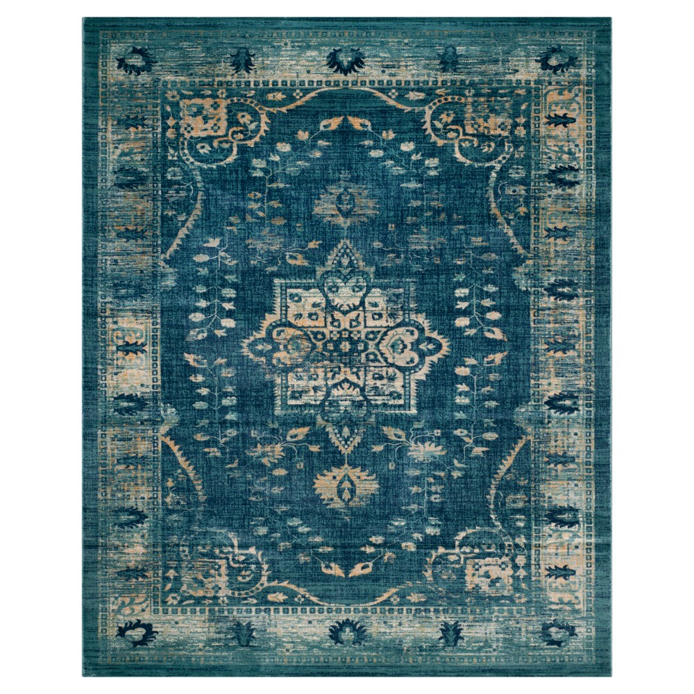 Navy/Gold Abstract Loomed Area Rug - (9'x12') - Safavieh, Blue/Gold