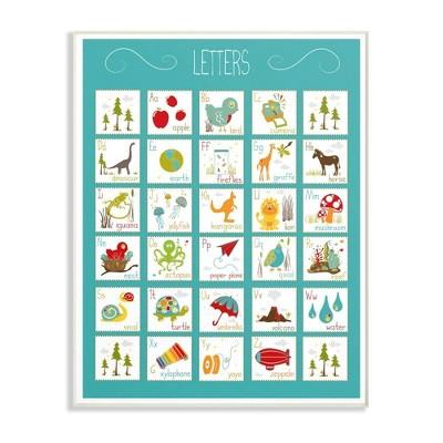 """12.5""""x0.5""""x18.5"""" Kids' Alphabet Letter Chart Aqua Oversized Wall Plaque Art - Stupell Industries"""