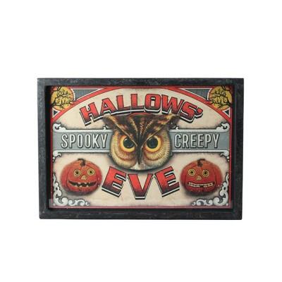 "Raz Imports 16"" Halloween Rectangular ""Hallows' Eve"" Framed Wall Art - Black/Red"