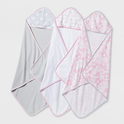 Baby Girls' Blushing Pink 3pk Hooded Towels - Cloud Island™ Pink/Gray One Size