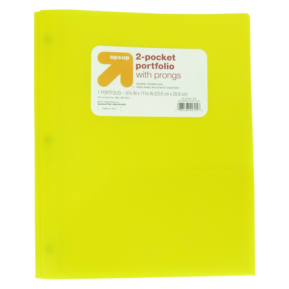 2 Pocket Plastic Folder with Prongs Yellow - Up&Up was $0.75 now $0.5 (33.0% off)