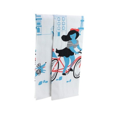 """Wild Eye Set of 2 White and Blue Parisian Experience French Kitchen Tea Towels 28"""""""