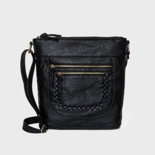 Bueno Zip Closure Crossbody Bag Black