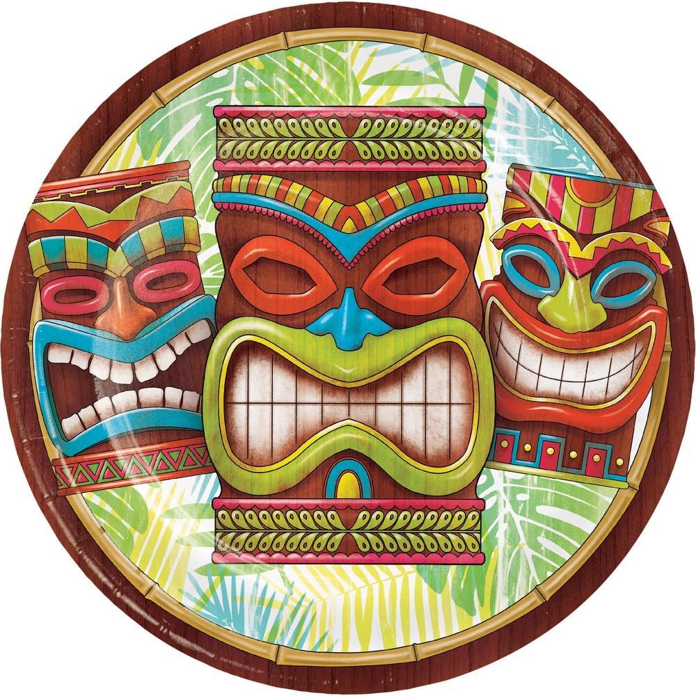 24ct Tiki Time Paper Plates Brown