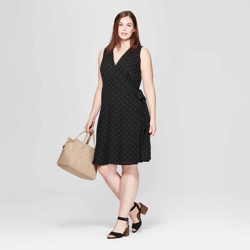 Women's Plus Size Sleeveless V-Neck Wrap Dress - Universal Thread Black 4X