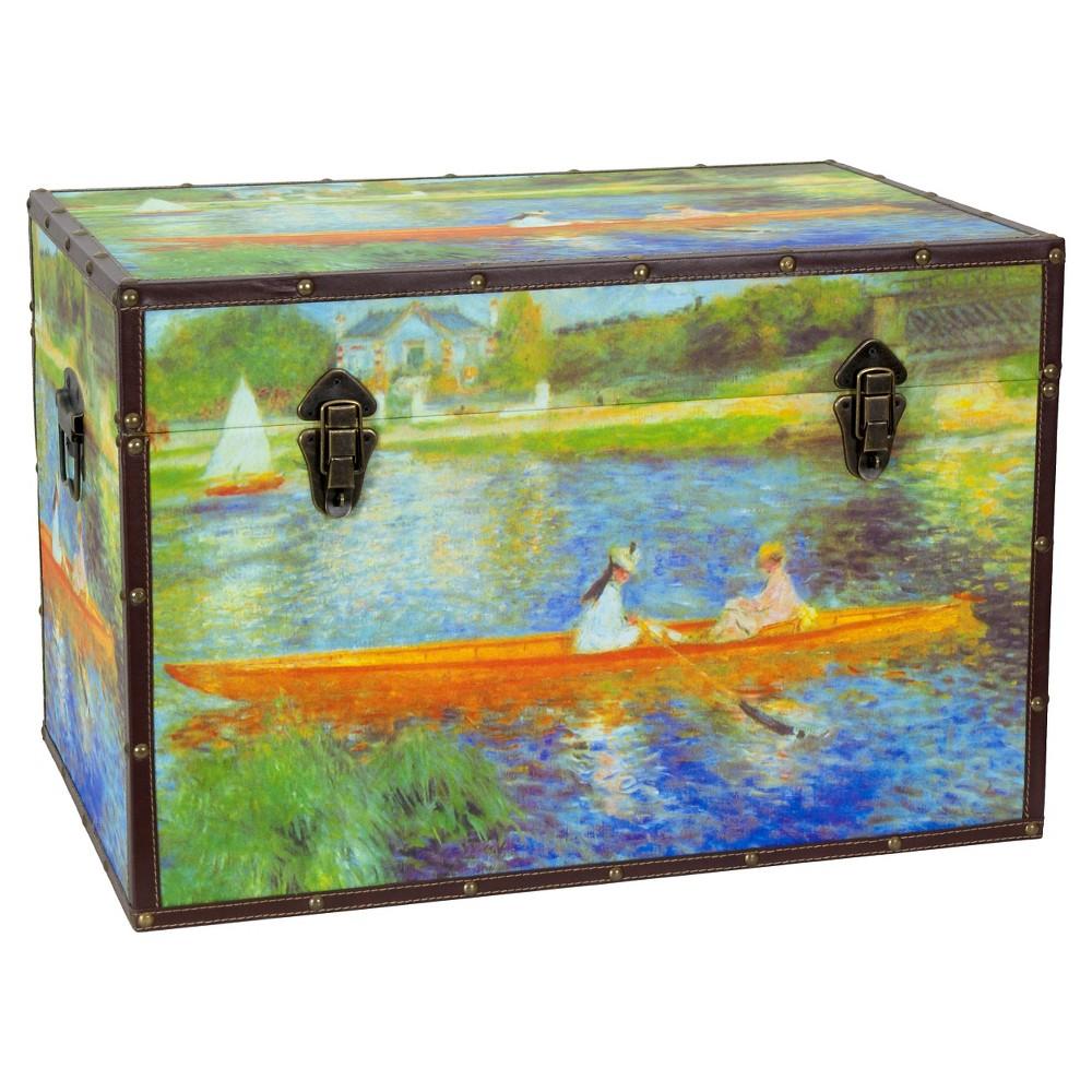 Faux Leather Renoir The Seine Trunk - Oriental Furniture, Multi-Colored