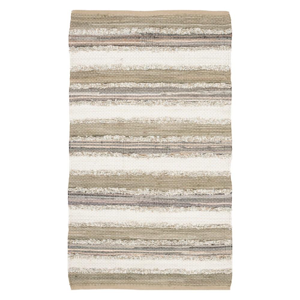 3'X5' Stripe Woven Accent Rug Beige - Safavieh, Beige/Multi-Colored