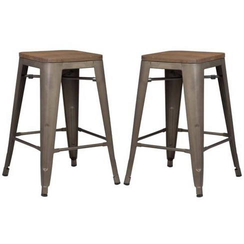"""24"""" Franco Industrial Counter Height Stool - Bronze/Elm - Poly & Bark - image 1 of 3"""