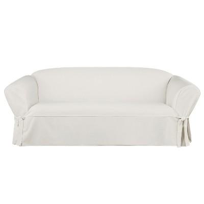 Essential Twill Sofa Slipcover White   Sure Fit