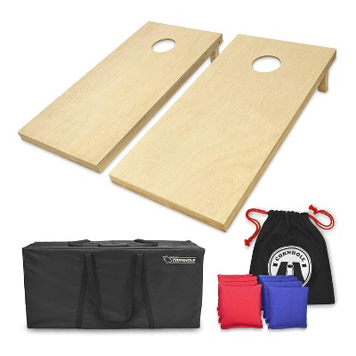 GoSports Regulation Size Bean Bag Outdoor Lawn Game Wood Cornhole Set with 2 4 Foot x 2 Foot Boards, 8 Bean Bags, Carrying Case, and Game Rules