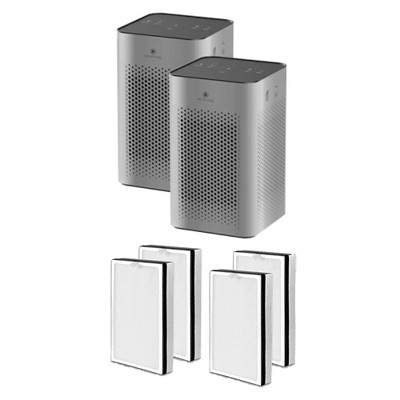 Medify Air MA-25-S2 Medical Grade HEPA Table Top Air Purifier, Silver (2 Pack) and MA-25R-2 Air Purifier 3 in 1 Replacement Filter Set (2 Pair)