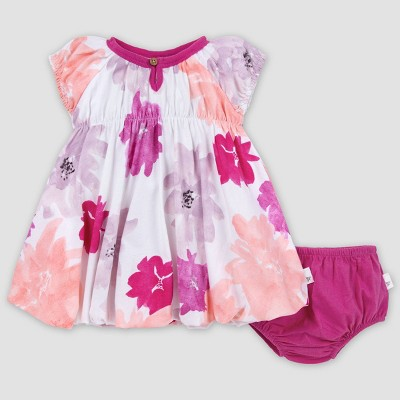 Burt's Bees Baby® Baby Girls' Organic Cotton Watercolor Spring Bubble Dress and Diaper Cover Set - Pink 6-9M
