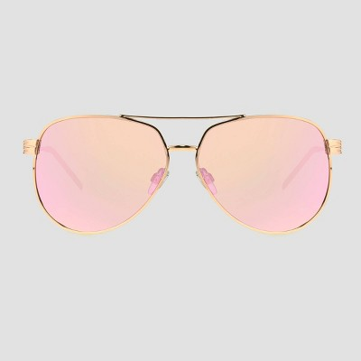Women's Aviator Sunglasses with Mirror Polarized Lenses - A New Day™ Rose Gold