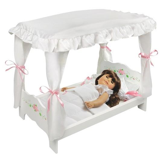Badger Basket White Rose Doll Canopy Bed image number null