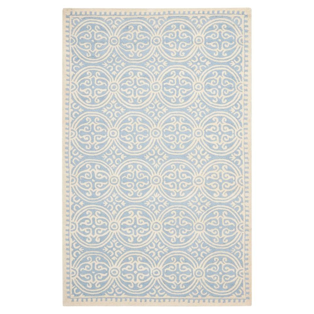 Light Blue/Ivory Color Block Tufted Area Rug 4'X6' - Safavieh
