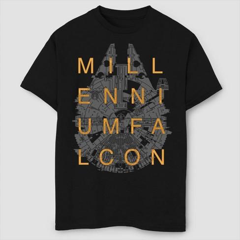 Boys' Star Wars Line Art Falcon T-Shirt - Black - image 1 of 2