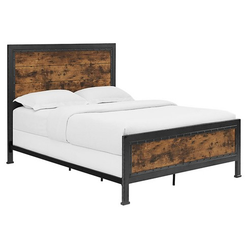 the latest 3ff14 c0432 Queen Size Industrial Wood and Metal Bed - Brown - Saracina Home
