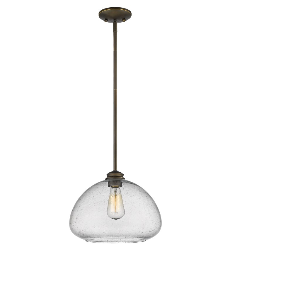 Pendant with Clear Seedy Glass Ceiling Lights - Z-Lite, Silver