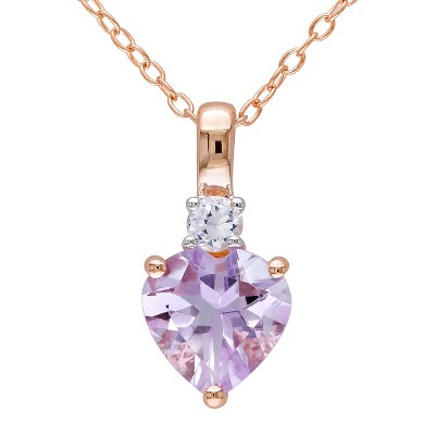 1.65 CT. T.W. Rose de France and .15 CT. T.W. Simulated Sapphire Necklace Pink Rhodium Plated Silver - Purple